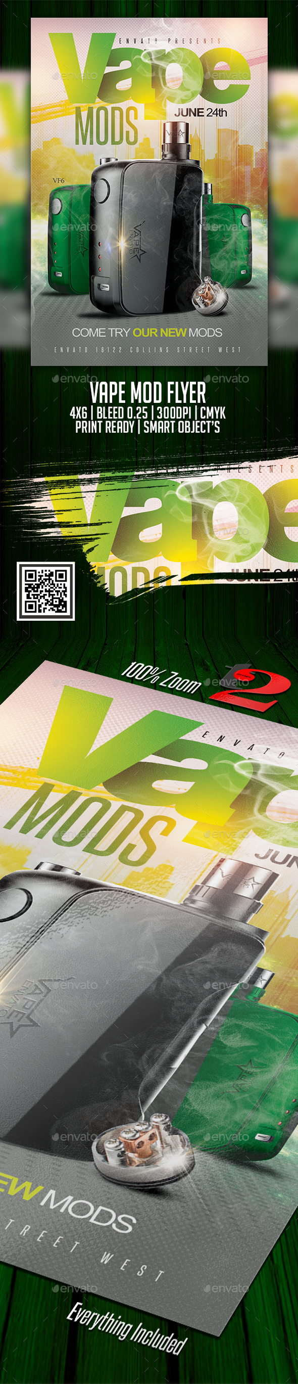 Vape Mods Flyer Template - Clubs & Parties Events