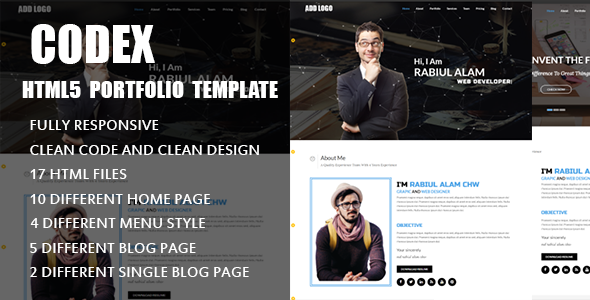 ThemeForest Codex Personal Portfolio Template 20303978
