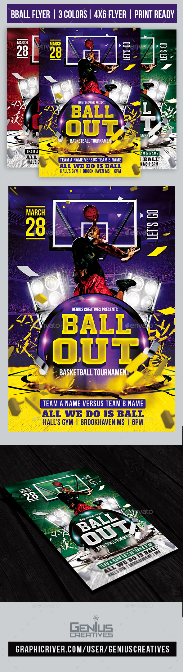 Ball Out Basketball Flyer Template - Sports Events