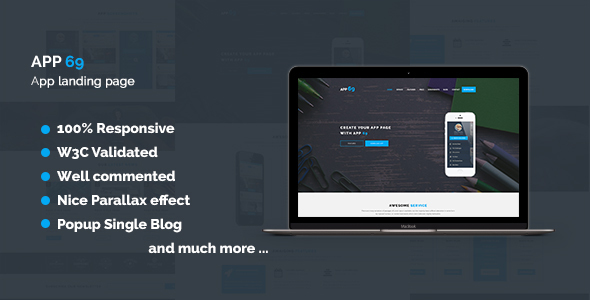 App 69 - App Landing Page HTML5 Template - Technology Site Templates