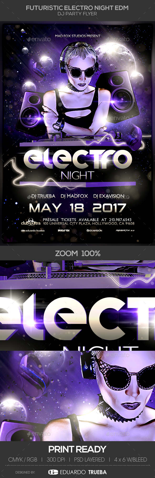Futuristic Electro Night EDM Dj Party Flyer - Clubs & Parties Events