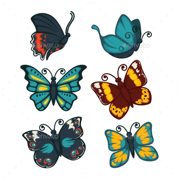 Set of Colorful Butterflies - Animals Characters