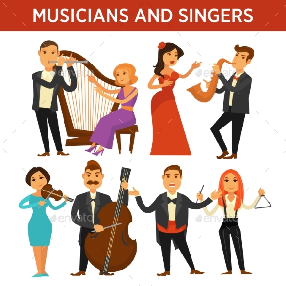 Musicians with Instrument and Elegant Singers - People Characters
