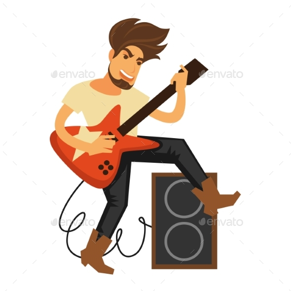 Rock Musician with Long Hair Plays Electric Guitar - People Characters