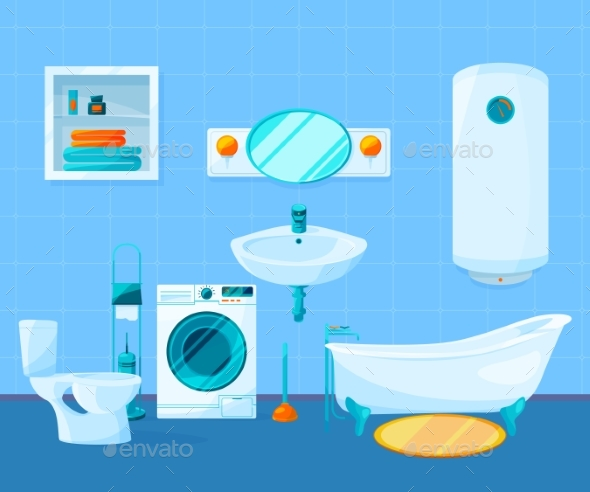 Modern Clean Interior of Bathroom. Vector Pictures - Objects Vectors