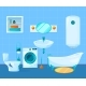 Modern Clean Interior of Bathroom. Vector Pictures