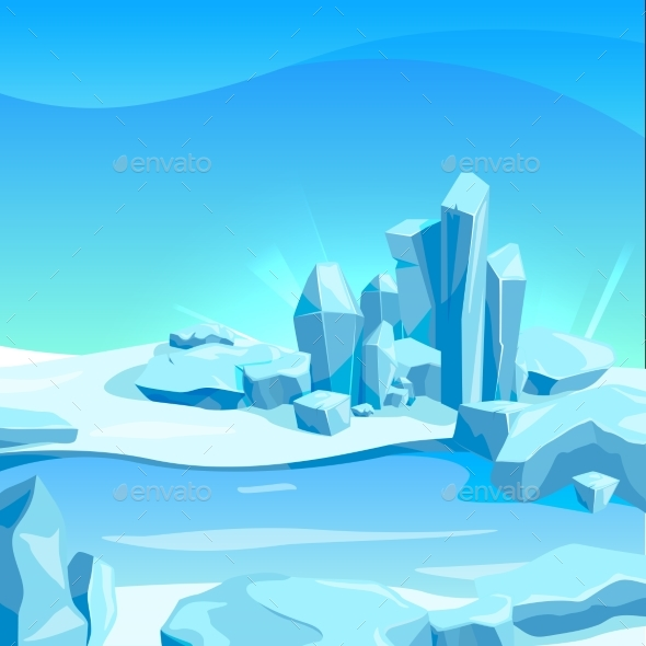 Frozen Landscape with Ice Rocks. Cartoon - Miscellaneous Vectors
