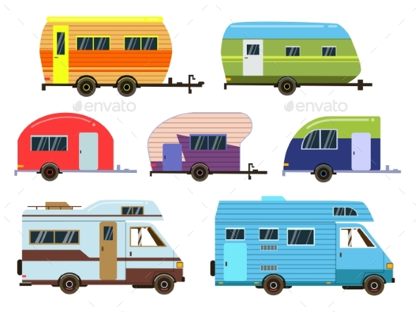 GraphicRiver Campers Cars Set Different Resort Trailers 20400497