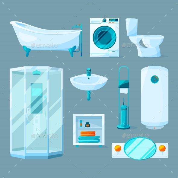 Bathroom Interior Furniture and Different - Objects Vectors