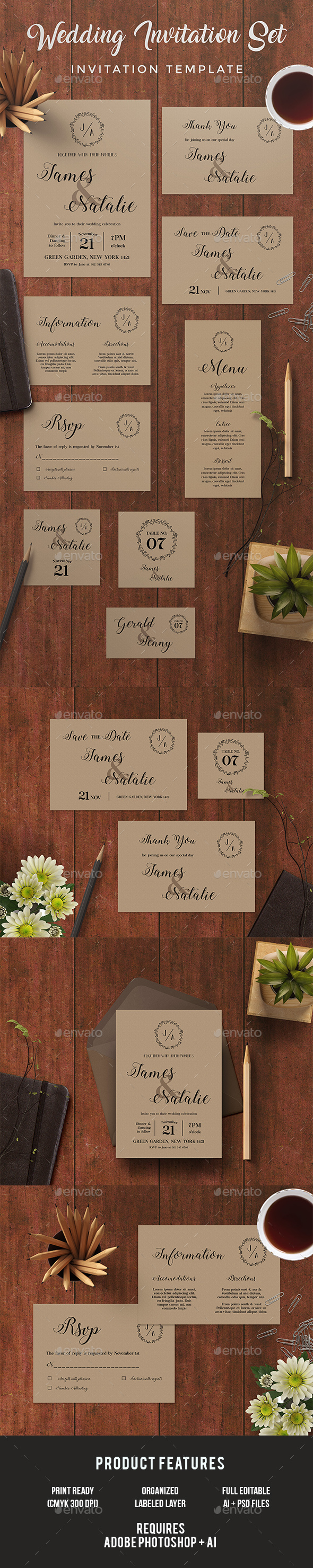 Wedding Invitation Set - Invitations Cards & Invites