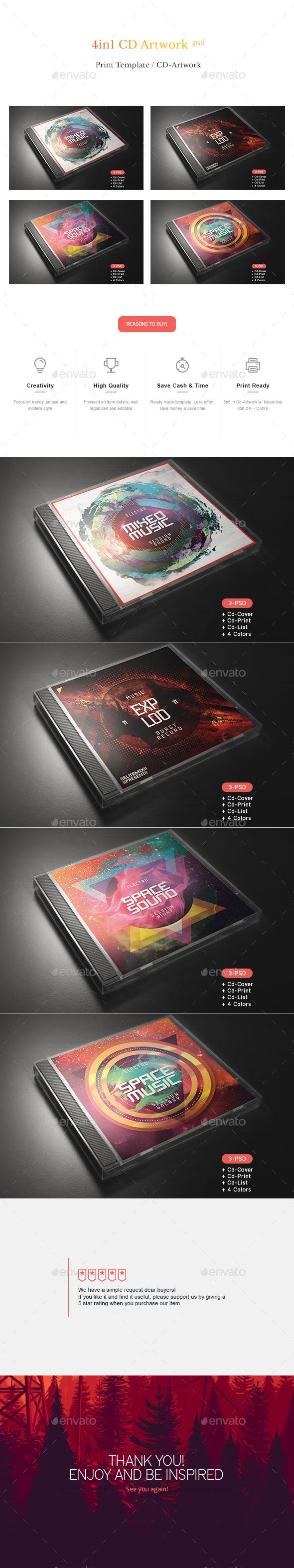 Cd Artwork Template Bundle - CD & DVD Artwork Print Templates