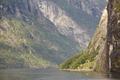 Norwegian fjord rocky landscape. Hellesylt, Geiranger travel route. Tourism
