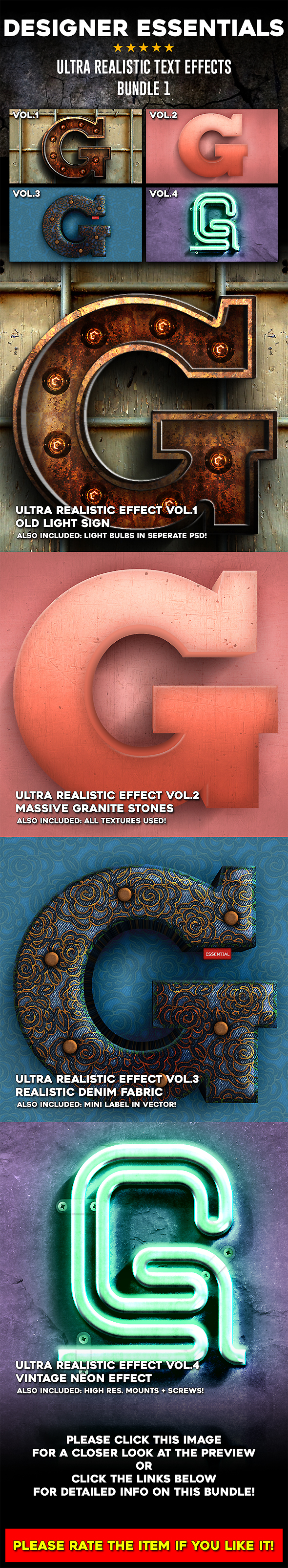 Ultra Realistic Text Effect Bundle Vol.1 - Text Effects Actions