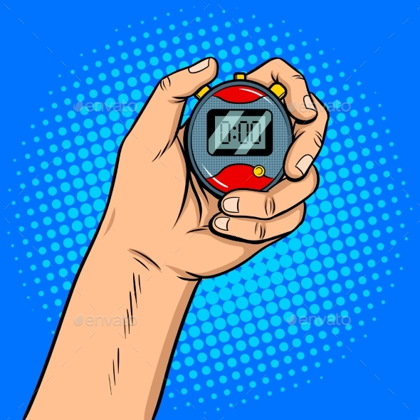 GraphicRiver Hand with Stopwatch Pop Art Vector Illustration 20401044