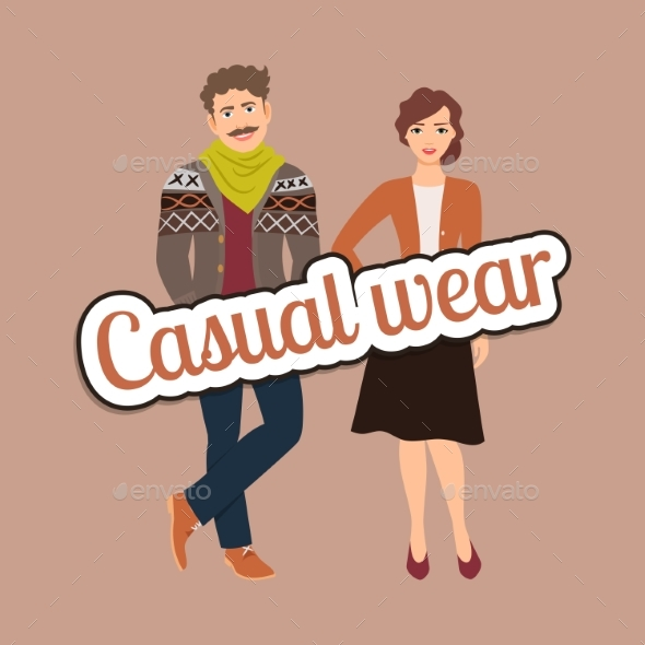 Fashion Couple in Casual Wear Style - Man-made Objects Objects