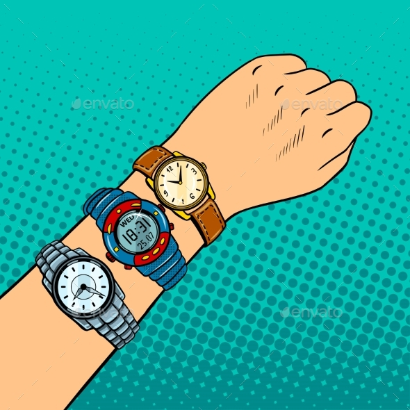 Hand with Wristwatch Pop Art Vector Illustration - Objects Vectors