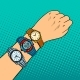 Hand with Wristwatch Pop Art Vector Illustration - GraphicRiver Item for Sale