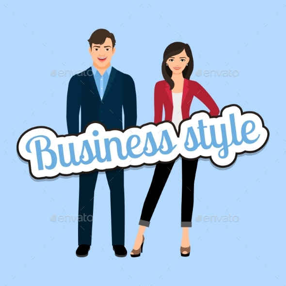 Happy Couple in Business Style Clothing - People Characters