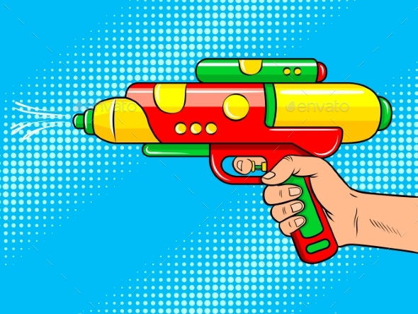 Hand with Water Gun Pop Art Vector Illustration - Objects Vectors