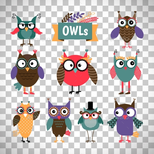 Owl Icons Set on Transparent Background - Animals Characters