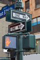 One way street sign pole in New York with red traffic light - PhotoDune Item for Sale