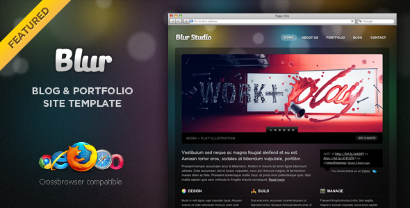 Free Download Blur - Portfolio and Blog Template Nulled Latest Version