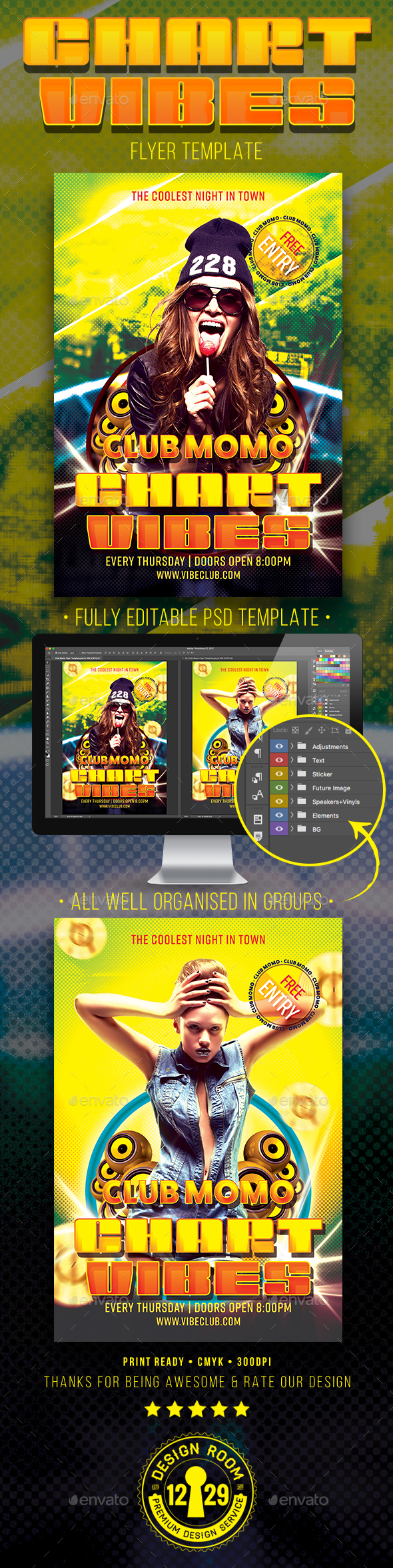 Club Momo Chart Vibes Flyer Template - Clubs & Parties Events