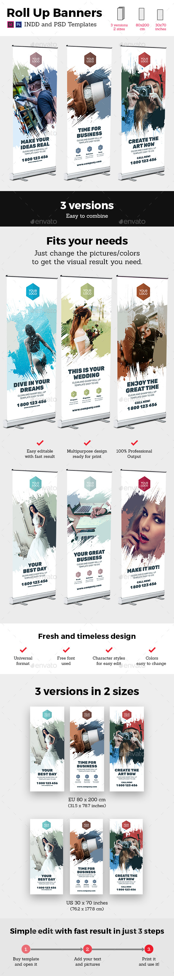 Rollup Stand Banner Display Brush 3x InDesign and Photoshop Template - Signage Print Templates