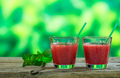 Watermelon juices on a wooden table - PhotoDune Item for Sale