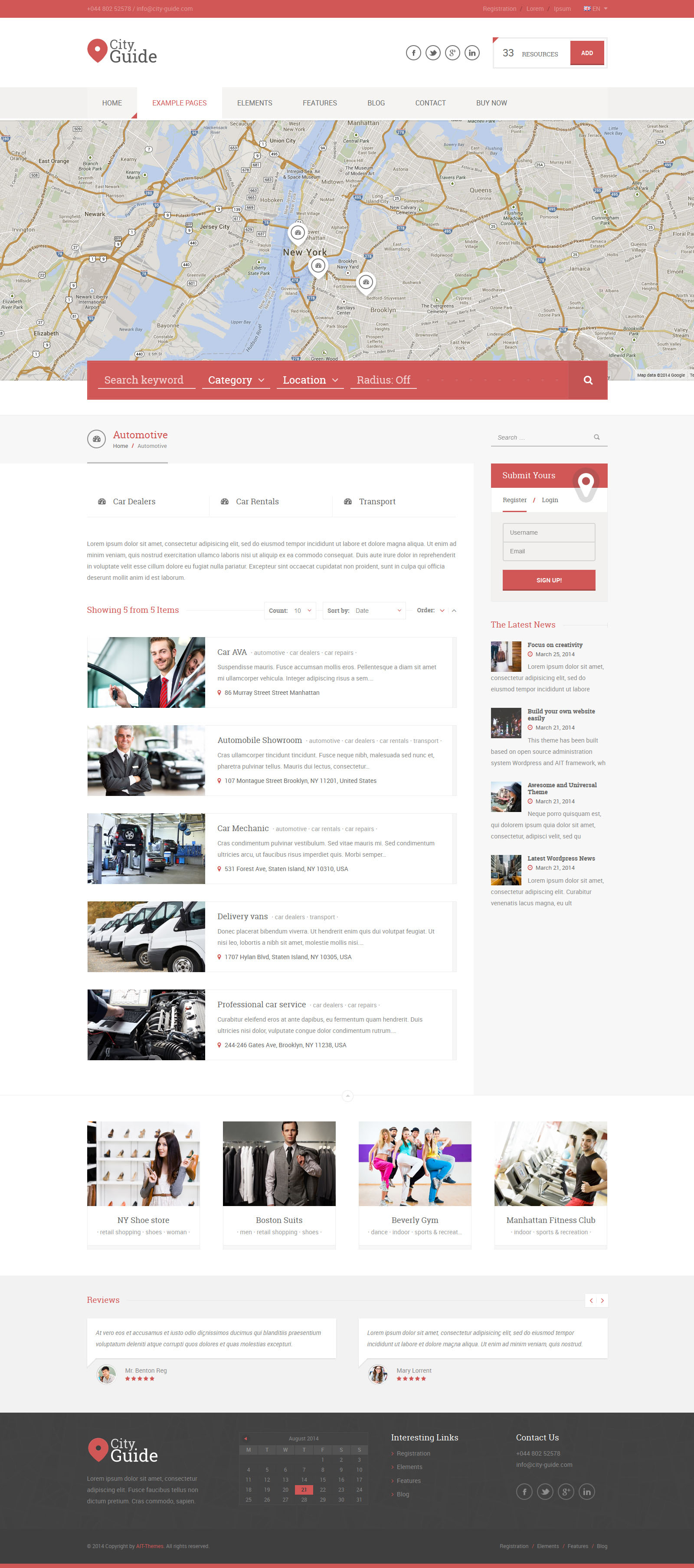 City guide listing directory wordpress theme