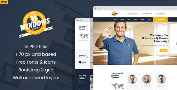 Windows&Doors - Manufacturing PSD Template - Business Corporate