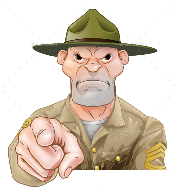 Cartoon Army Drill Sergeant Pointing - Animals Characters