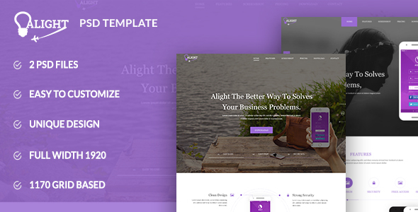Alight – Apps Landing PSD Template Download