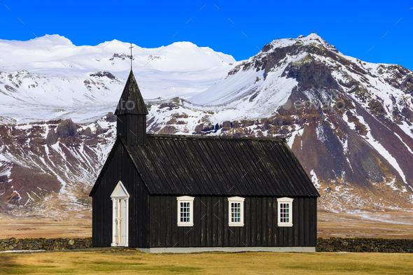 Budir black church at the Snaefellsnes peninsula, Iceland - Stock Photo - Images