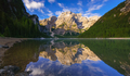 Braies Lake at sunrise, Dolomites mountains, Sudtirol, Italy - PhotoDune Item for Sale