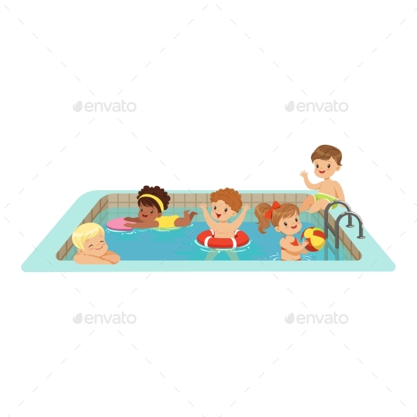 GraphicRiver Happy Kids Having Fun in a Swimming Pool 20402950