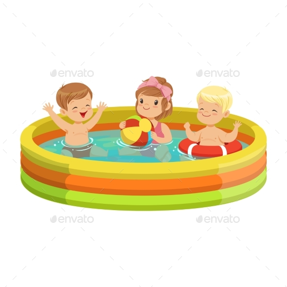 Happy Kids Having Fun in Inflatable Swimming Pool - People Characters