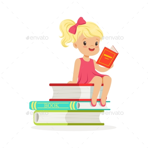 Blonde Girl in Pink Dress Reading - People Characters