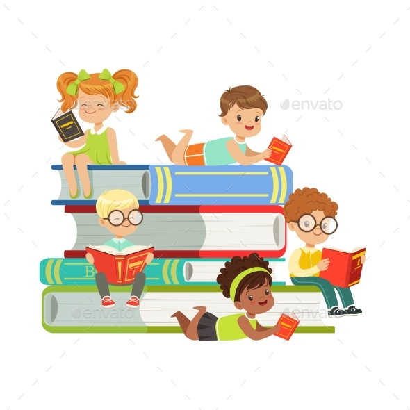 GraphicRiver Boys and Girls Sitting on a Pile of Books 20403010