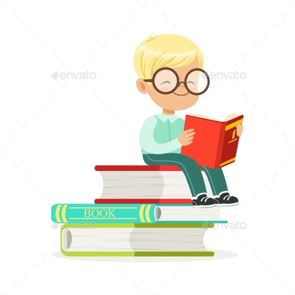 Smart Boy Sitting on Pile of Books and Reading - People Characters