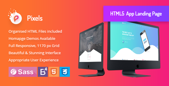 Pixels - Creative App Landing HTML5 Template - Technology Site Templates