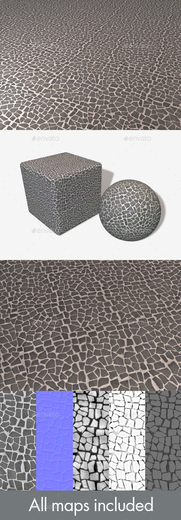 Grey Mosaic Pebbles Seamless Texture - 3DOcean Item for Sale