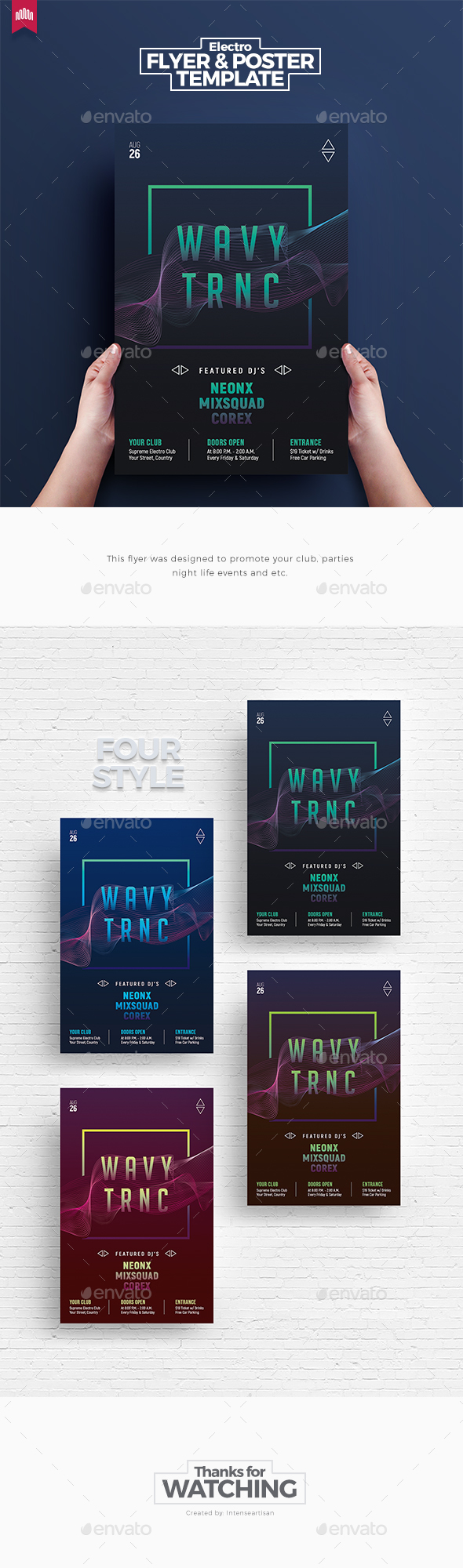 Wavy Trance - Flyer Template - Clubs & Parties Events