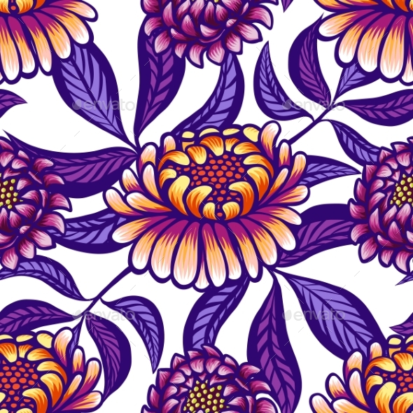 Floral Hand Drawn Vintage Seamless Pattern - Flowers & Plants Nature