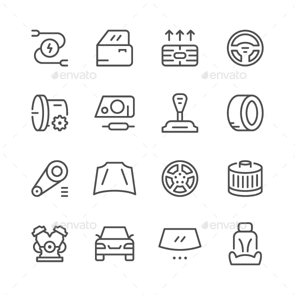 Set of Car Related Line Icons - Man-made objects Objects