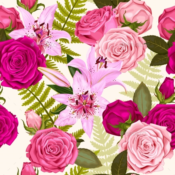 Seamless Pattern with Lilies and Roses - Flowers & Plants Nature