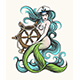 Mermaid with Steering Wheel