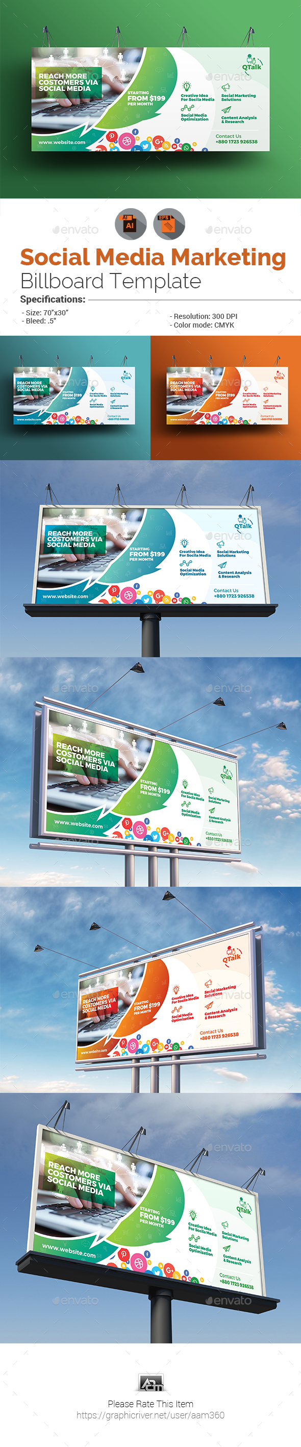 Social Media Marketing Billboard - Signage Print Templates