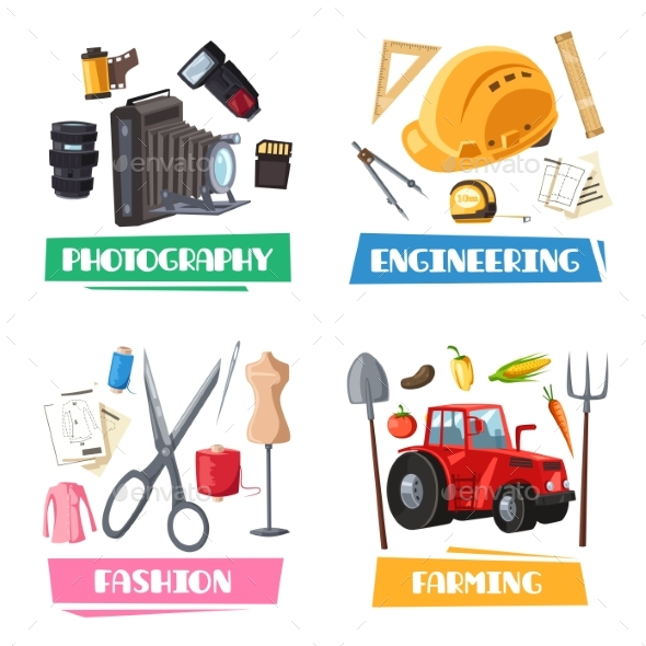 Vector Professions Tools and Items Set - Objects Vectors