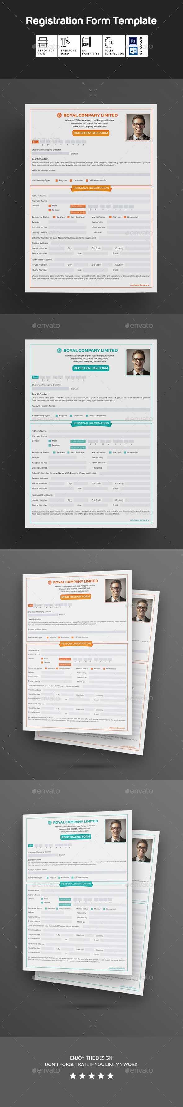 Registration Form - Miscellaneous Print Templates